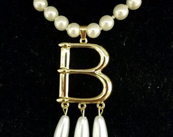 "Anne Boleyn Gold Plated ""B"" Pearl Choker Necklace--Free Cameo Necklace With Purchase!"