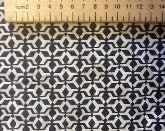 Japanese printed cotton poplin sold per 25cm, navy/white geometrical print
