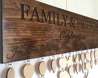 Family & Friends Celebrations Board, Family Birthdays Board, Anniversaries Board, Family Calendar, Birthday Gift, Anniversary Gift