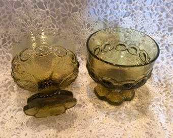 Vintage green glass dessert/sundae cups
