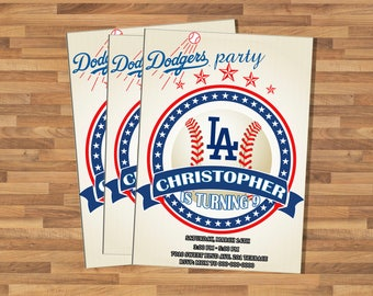 Baseball Invitation. Baseball Birthday Invitation. Baseball Birthday Party. DIY Printable. LA Dodgers invitation.