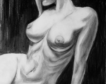 Classic nude with pencils on a3 paper