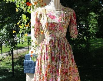 50s Cotton Floral Dress