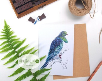 Wood pigeon - Kereru folded card from the New Zealand native birds series by Emilie Geant, from original watercolor painting