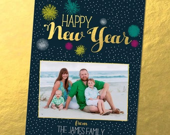 Gold and Teal Fireworks New Years Photo Card (DIGITAL FILE)