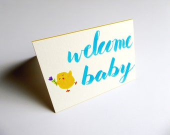 Welcome Baby Card | Baby Shower Card || Card & Envelope Set
