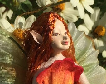 "Fae Folk® Fairies - SUNNY - Garden Fairy. Bendable, posable 5"" soft doll can sit, stand, or hang."