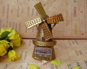 "Vintage Hungarian brass wall decor,Thermometer,""Windmill"""