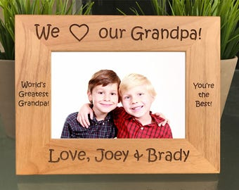 I Love my Grandpa Personalized Custom Engraved Photo Frame Gift Grandfather, Pappy, Papa, Abuelo