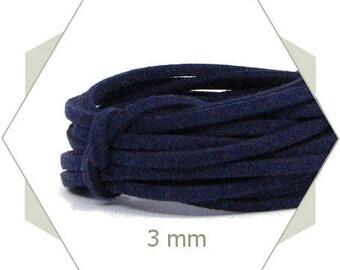 1 m cord 3 mm dark blue CP37 leatherette
