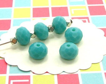 25 8 * 6 mm DO57 turquoise faceted glass beads