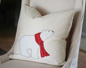 Polar Bear Christmas Pillow