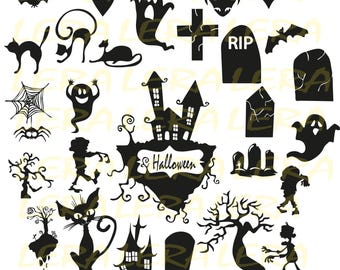 60 % OFF, Halloween Svg, Halloween SVG Files, Halloween Clipart, Halloween Silhouette svg, dxf, ai, eps, png, Halloween Vector Files