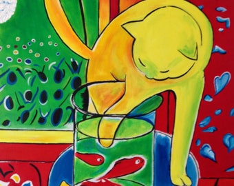 Hand Painted Henri Matisse The Cat With Red Fish Reproduction By JPK Artwork
