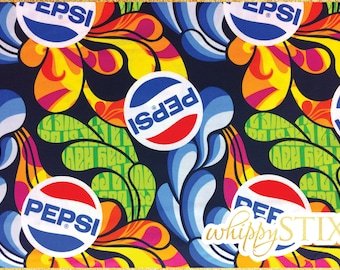 Pepsi Fabric By the Yard, Colorful Pepsi Cola by Camelot Fabrics 55100101, BTY Pepsi Cotton Quilting Fabric, Contemporary Soda Pop Material