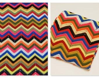 Vintage Rainbow Chevron Afghan ⎮ 70s 80s Crocheted Throw ⎮ Handmade Blanket Boho Home Decor