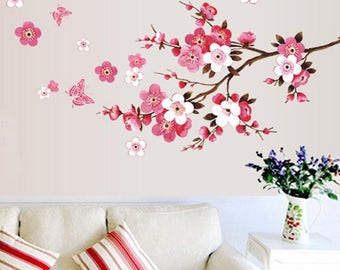 Cherry Wall Decal, Cherry Tree Wall Decal, Cherry Blossom Wall Decal, Flower Wall decal for Living Room, Flower Wall Stickers