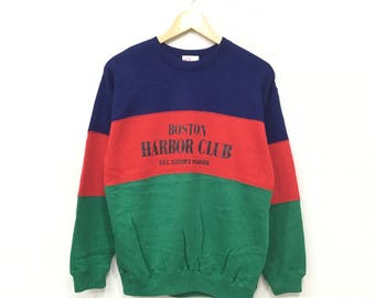 Rare!! BOSTON Harbor Club Sweatshirt Pullover Jumper hiphop swag Lolife Colour Block Medium Size
