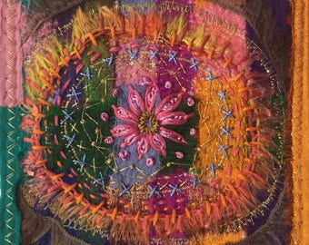 Embroidered sari ribbons collage