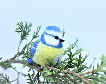 Needle Felted Bird Needle Felted Blue Tit Needle Felted Animal Blue Tit Ornament Bird Ornament Blue Tit Keychain Miniature Blue Tit Charm