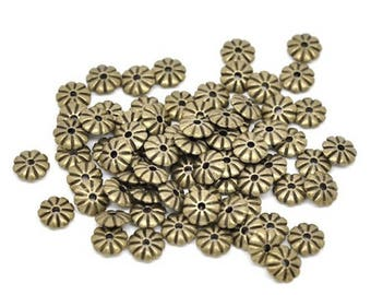 100 beads Intercalaires flower bronze 7x2mm