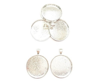 5 pendants round silver plated (suitable Cabochon 30 mm Dia)