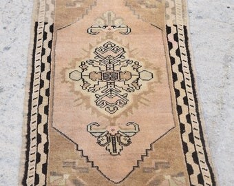 Distressed Small Oushak Rug, Small Rug, Woolen Small  Rug, Bathroom Rug, Small Oushak Rug, Turkish Small Rug, Vintage Small Rug, 1'7x3'5