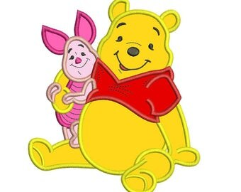 Winnie the Pooh and Piglet Applique Design 3 sizes instant download