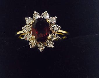 1.5ctw,garnet Mozambique,diamonds,10k yellow gold,engagement,promise gemstone ring,size 7