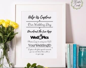 Wedpics Wedding Sign / Wedpics App Sign / Custom Wedding Signs / Sign Printable Sign / Printable Wedding Sign INSTANT DOWNLOAD 4x6 5x7 8x10