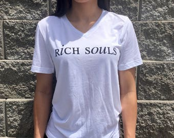 Rich Souls White V Neck