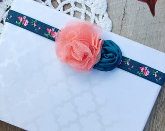 Pink and blue floral bow, floral headband, girls bow, girls headband, baby girl bow, baby girl headband, newborn bow, newborn headband,