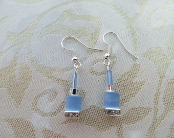 Pale blue/crystal rondelle earrings