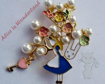 Alice in Wonderland pin, Alice pin, Alice with rabbit pin, Alice, Alice in Wohderland, cute pin