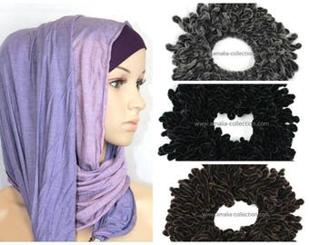 3x Hair Tie Bun Velvet Volumizer Scrunchies for hijabis