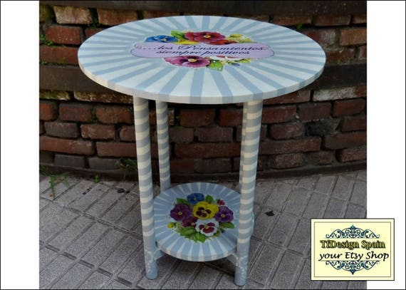 Round wood table, Round wood coffee table, Round wood end table, Round wood hall table, Round wood table painted, Round wood table plants 50