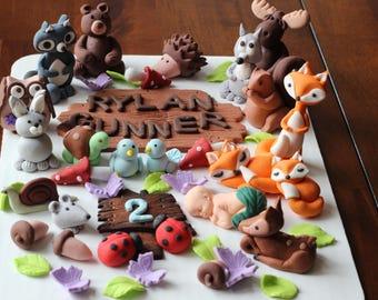 Fondant Woodland Animals Cake Decoration Fox Owl Mushrooms Flowers Baby Shower Birthday Cake Decoration
