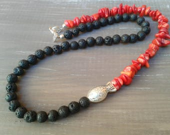 Coral necklace, lava stone, lava necklace Choker