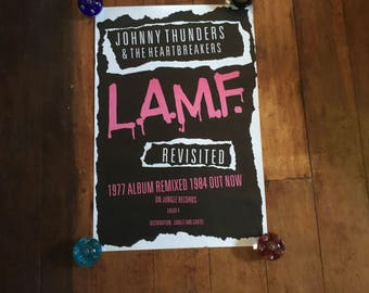 Johnny Thunders & The HeartBreakers L.A.M.F.  Cartel  and Jungle Records Silkscreened Rare Original Music Poster