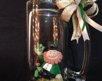 St Patrick's Day leprechaun candle holder, leprechaun beer mug