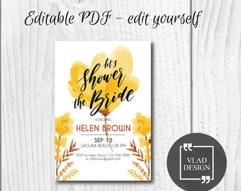 Editable Bridal Shower Invitation, Editable PDF, Bridal shower invite, Printable invitation, Bridal shower template, Edit yourself
