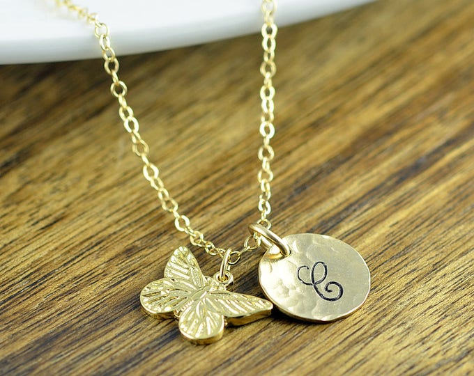Personalized Necklace, Butterfly Initial Necklace, Butterfly Necklace, Butterfly Initial Necklace, Butterfly Jewelry, Butterfly Necklace