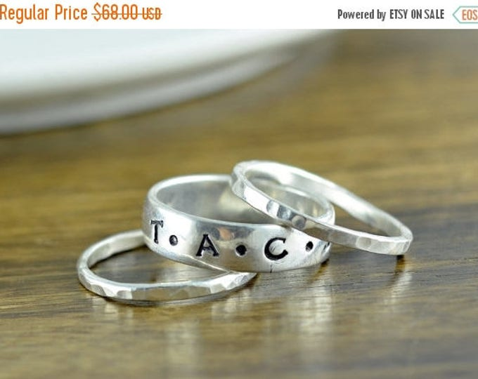 10% off SALE Stackable Ring - Custom Name Ring - Sterling Silver Personalized Hand Stamped Mothers Ring - Gift for Mom - Name Ring - Mothers