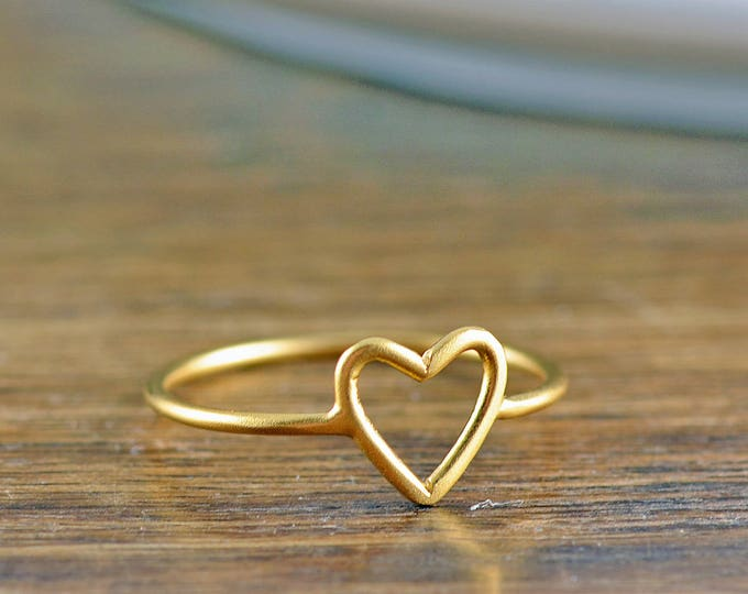 Gold Heart Ring, Heart Ring, Open Heart Ring, Gold Jewelry, Stacking Rings, Birthday Gifts for Her, Gift for Women, Valentines Day Gift