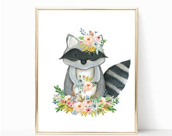 Woodland Raccoon Print. Watercolor Nursery Art. Floral Raccoon Print. Printable Woodland Art. Raccoon Art. Raccoon Print. Raccoon Printable.