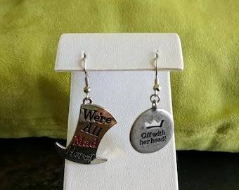 Alice in Wonderland dangle earrings