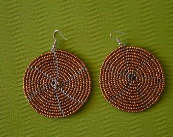 African Maasai Beaded Earrings | Copper Earrings|Drop & Dangle Earrings |Tribal Earrings |Gift For Her | Elegant Earrings