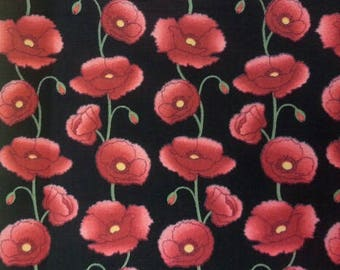 Poppy Fabric 100% Cotton Material By Metre Flowers Floral Colourful Patchwork Cushions Bags Bunting