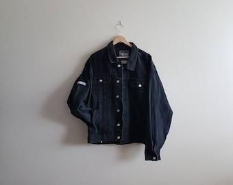 Vintage Lee denim jacket, vintage NASCAR jacket, black denim jacket, rare denim jacket, black jean jackets