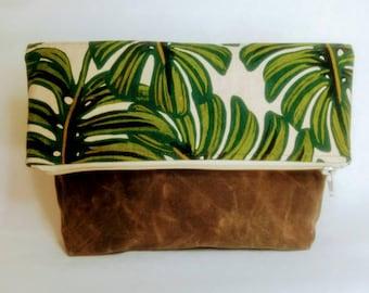 Foldover Crossbody Tote Bag, Waxed Canvas, Canadian Made, 1867Shop, Handmade, Bucket Bag, Monstera